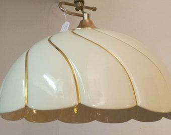 Suspension ecru and gold porcelain