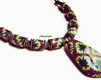 SUMMER SALE 20% off Ethnic choker necklace: Unique necklace, Polymer clay jewelry, Ethnic necklace, Purple-orange-green necklace, Gift woman