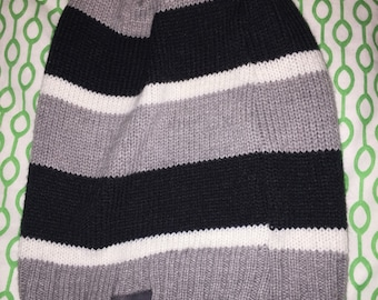 One of a kind beanie - black grey and white stripes