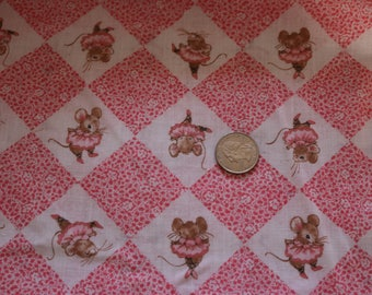 20 VINTAGE Pink ballerina mouse Cotton fabric for quilts and more 20