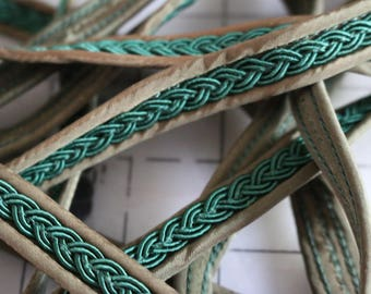 29 Vintage dark green braided look trim on sage background