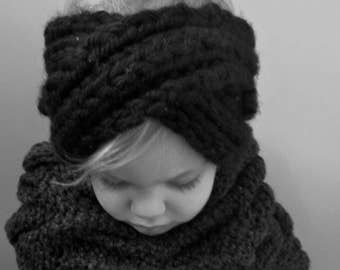 PDF Digital Pattern Knit Cabled Cowl & Head Warmer Toddler to Tween