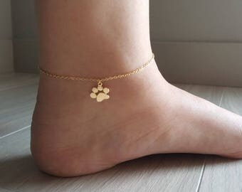 18k Gold Dog Paw Anklet,Paw Anklet,Dog Anklet,Puppy anklet,Cute Anklet,Minimalist Anklet,Birthday gift,Bridesmaid Gift,Christmas gift