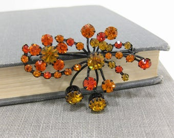 Unique Golden Topaz Colored Crystal Rhinestone Brooch Made in Austria