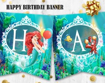 Little mermaid Ariel Happy birthday banner Mermaid Ariel banner