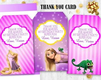 Rapunzel Thank you tags Tangled Gift tags Birthday digital printable thank you tags