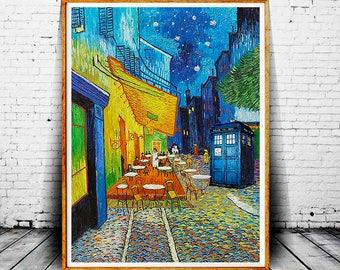 Doctor Who Cafe Terrace Print, Tardis Print, Doctor Who, Tardis, Doctor Who Art, Doctor Who Wall Art, Vincent van Gogh, Dr Who Illustration