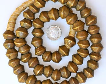 26 Inch Strand of Old 15mm Bronze Beads from Cameroon - Vintage African Trade Beads - CA60