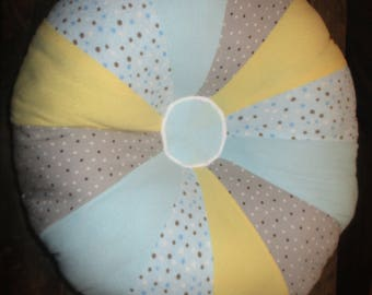 "16"" Mini Pouf Baby Boy Girl Customized Nursery round pillow, 100's Fabrics to Choose From!"