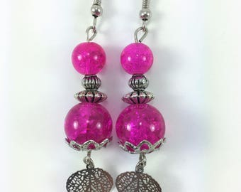 Bright pink and silver earrings #122