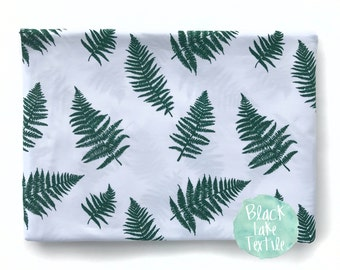 JERSEY FABRIC - fern on white - sold by the half meter - UK Seller