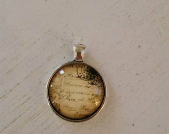 Antique postcard pendant necklace