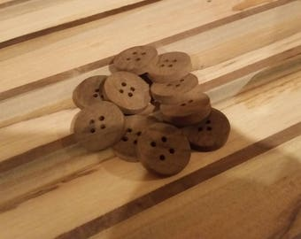 Real hardwood buttons, set of 12