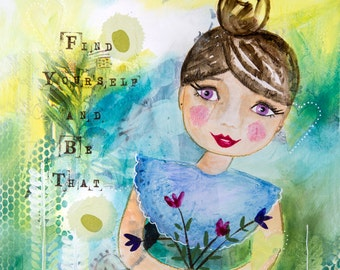 "Mixed Media Art Print,Collage,Girl Art,Inspiring Art,Blue,Green,Art Prints,Ready to Frame,Gift under 20,Collage Art8""×10"" by Tina Maher"