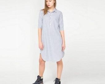 Navy Blue Cotton Dress. Tshirt Dress. Summer Mediterranean Dress. Tunic Dress. Striped Fabric. Sea Inside.