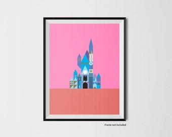 Castle illustration print inspired by Disney World - Pink