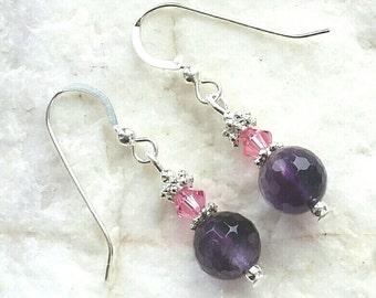 Amethyst Faceted Gemstone Sterling Silver Pink Swarovski Crystal Sterling Silver Earrings