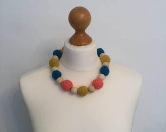 crochet and wooden beads