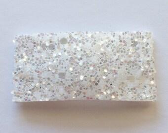 Snowy white glitter snap clip OR alligator clip