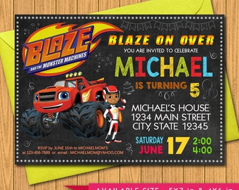 SALE!! blaze birthday, blaze invitation, monster machines, blaze party, blaze, blaze invite, blaze invitations, monster truck, blaze monster