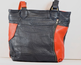 Red & dark blue upcycled leather tote