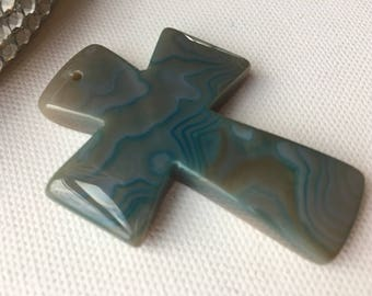 55mm Aqua and Gray Agate Cross Bead
