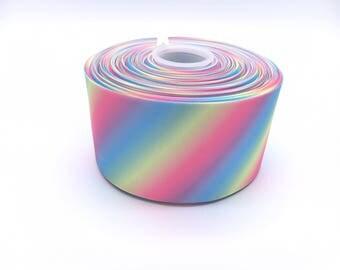 "Rainbow Stripe Grosgrain Ribbon 3"" 3 inch width 1 meter"