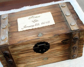 Wedding Card Box - Wedding Trunk - Wine Ceremony - Elegant Barn Wedding - Anniversary Keepsake - First Fight Box - Rustic Wedding Decor