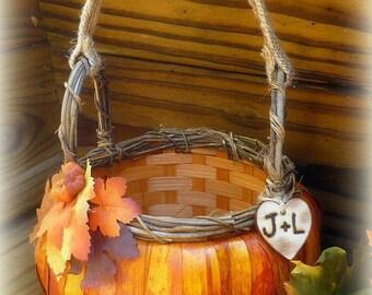 Pumpkin Flower Girl Basket Rustic Wedding Personalized Custom
