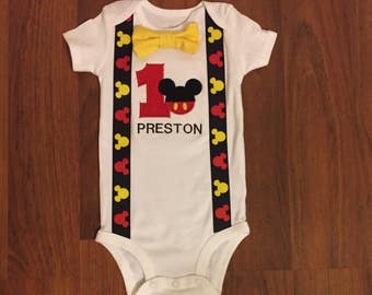 Mickey mouse inspired 1st birthday boy outfit, 1st birthday boy outfit, Baby boy first birthday outfit, Mickey smash cake birthday outfit