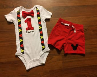Mickey mouse inspired 1st birthday boy shorts outfit, 1st birthday boy outfit, Baby boy first birthday outfit, Mickey smash cake, disney the