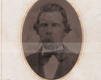Antique Tintype Photograph . Civil War Era Portrait of a Man . Digital Download . High Resolution Scan