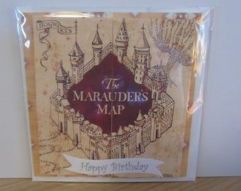 Handmade Harry Potter Inspired The Marauders Map Birthday Card  - Hufflepuff