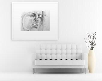 Line drawing portrait, Beautiful young woman sketch, Contemporary art portrait, Original portrait sketch, Sensual woman oversized sketch.