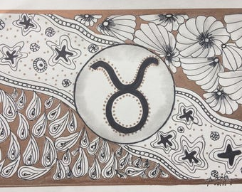 Zentangle Inspired  Zodiac Taurus  Cosmic Astro Signs Gifts under 50 dollars