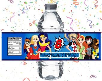 DC Superhero Girls Birthday Party Water Bottle Wrap - Custom Wrap