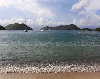 Waterlemon Cay Sailboats Large Beach Print Oversize Wall Art St John USVI Nature Photography Landscape Tropical Caribbean Teal Blue Beige