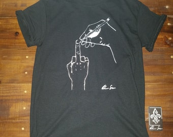 Drawing a Middle Finger Black Tee