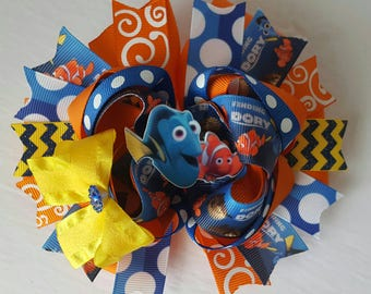 Finding dory hairbow, dory hairbow,  character hairbow, disney,Nemo hairbow, ocean theme, Nemo birthday, finding dory birthday, stacked, OTT