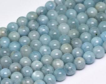 "8MM Genuine Aquamarine Grade A Natural Gemstone Full Strand Round Loose Beads 15.5"" (100735-311)"