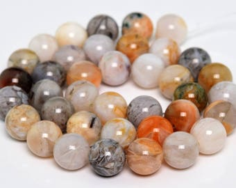 """10MM Bamboo Agate Natural Gemstone Full Strand Round Loose Beads 15"""" (101199-347)"""