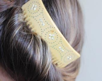 Antique 1900's Floral Diamante Hair Comb Polka Dot Ivory Coloured Vintage