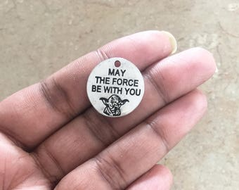 May The Force Be With You Charm, Bracelet Charm, Star Wars Charm, Silver Star Wars Charm, Star Wars Pendant, May The Force Be With You - C10