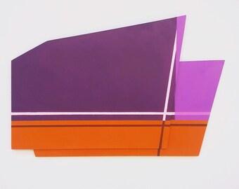 Handmade, purple and orange minimalist sculptural painting, acrylic on Board (49x31cm)