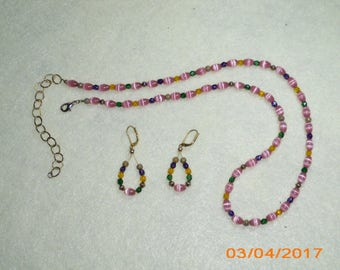 Pink Cats Eye Necklace and Earring Set