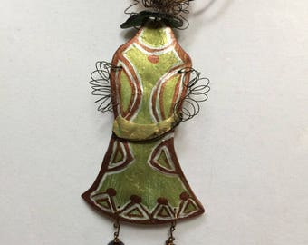 Gourd pendent, modern lady, one-of-a-kind