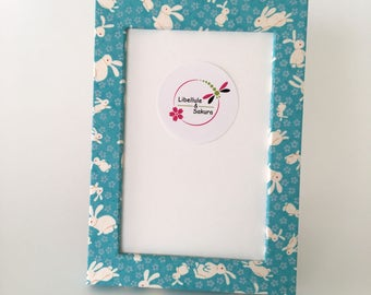 Photo frame coaster in natural wood for photo 10 x 15 covered with washi paper