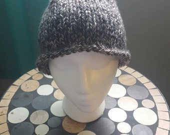 Gray/white/pink speckled knit beanie