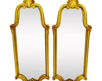 Pair of Vintage Mid Century Gold Gilt Mirrors