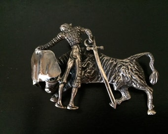 Silver Bullfight Pin